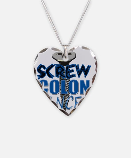 Screw Colon Cancer Necklace Heart Charm