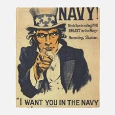 Americana  Recruiting Poster navy_ww Throw Blanket