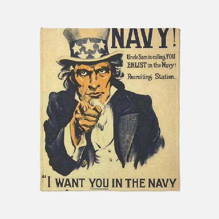 Americana  Recruiting Poster navy_ww Throw Blanket