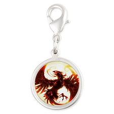 2-Phoenix spiral Silver Round Charm