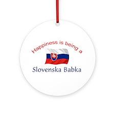 Happy Slovenska Babka Ornament (Round)