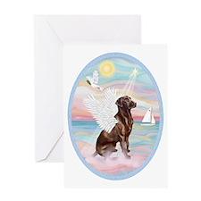 Heavenly Sea-Chocolate Labrador Greeting Card