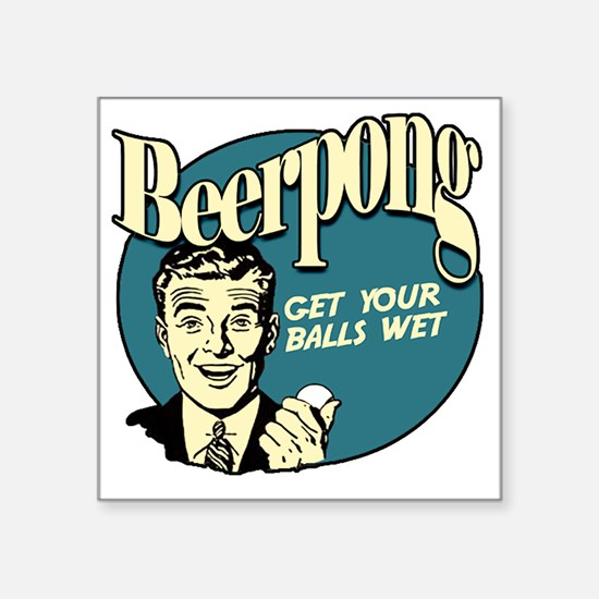 """Beer_Pong-01 Square Sticker 3"""" x 3"""""""