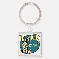 Beer_Pong-01 Square Keychain