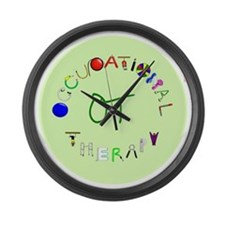 ot round green letters Large Wall Clock