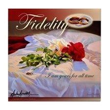 """Fidelity"" Rose Marriage Fine Art Tile Coaster"