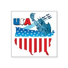 """USA Flag Map Square Sticker 3"""" x 3"""""""