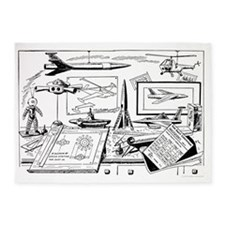 Drawing Board Inventions 5'x7'Area Rug