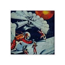 """Outpost in Space Tom Swift Square Sticker 3"""" x 3"""""""