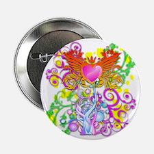 "Heart Shield Floral 2 T 2.25"" Button"