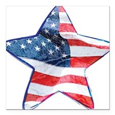 "American Flag - Star Square Car Magnet 3"" x 3"""