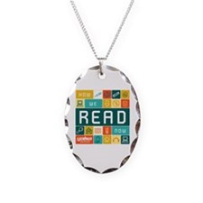 How we read-Journal Necklace Oval Charm