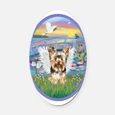 Lilies - Yorkshire Terrier 17 Oval Car Magnet