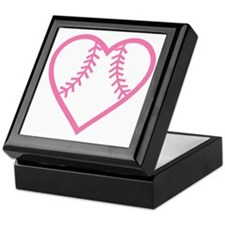 softball-heart-pink Keepsake Box