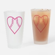 softball-heart-pink Drinking Glass