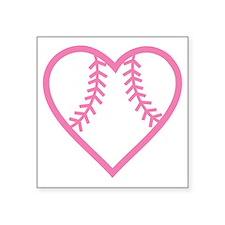 "softball-heart-pink Square Sticker 3"" x 3"""