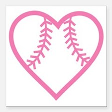 "softball-heart-pink Square Car Magnet 3"" x 3"""