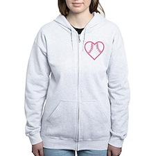 softball-heart-pink Zip Hoodie