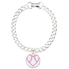 softball-heart-pink Charm Bracelet, One Charm