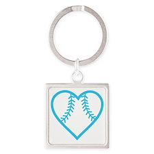 softball-heart-blue Square Keychain