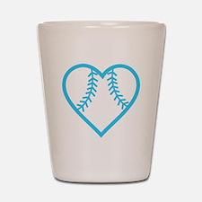 softball-heart-blue Shot Glass