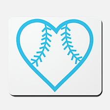 softball-heart-blue Mousepad