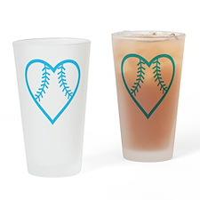 softball-heart-blue Drinking Glass