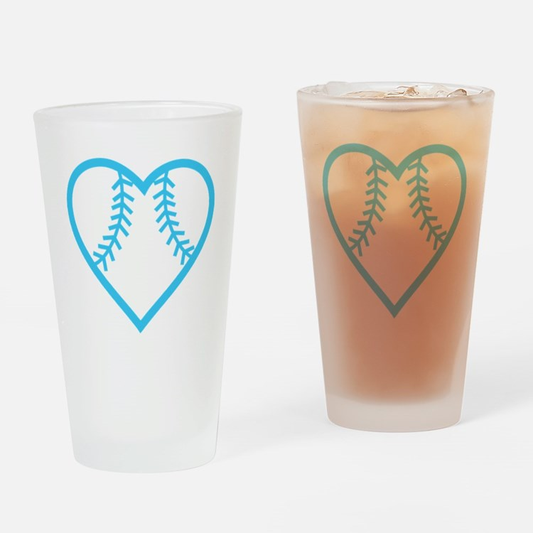 softball-heart-blue Drinking Glass