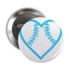 """softball-heart-blue 2.25"""" Button"""