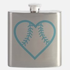 softball-heart-blue Flask