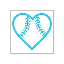 "softball-heart-blue Square Sticker 3"" x 3"""