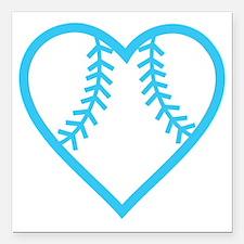 "softball-heart-blue Square Car Magnet 3"" x 3"""