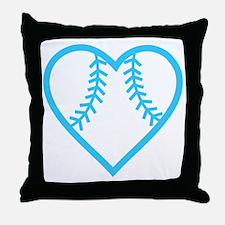 softball-heart-blue Throw Pillow