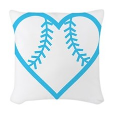 softball-heart-blue Woven Throw Pillow