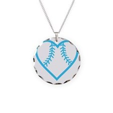 softball-heart-blue Necklace Circle Charm