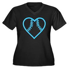 softball-hea Women's Plus Size Dark V-Neck T-Shirt
