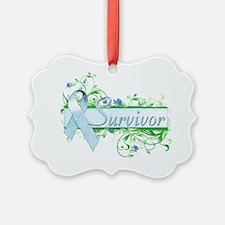 Survivor Floral Light Blue Ornament