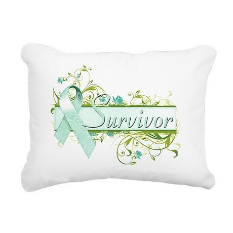 Survivor Floral Teal Rectangular Canvas Pillow