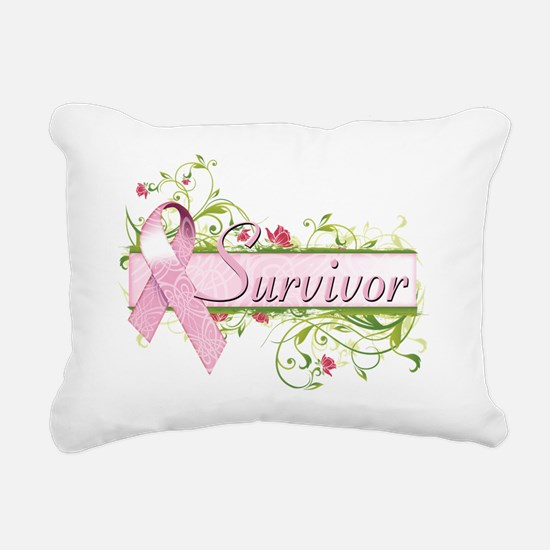 Survivor Floral Pink Rectangular Canvas Pillow
