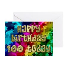 100th Birthday card with stars. Greeting Cards