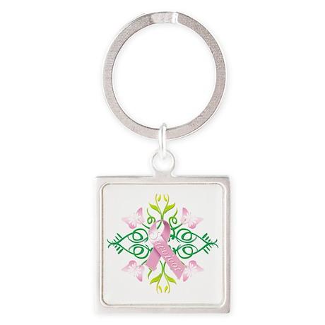 Pink Survivor Square Keychain