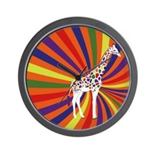 Rainbow giraffe Wall Clock
