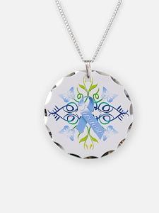 Blue Survivor Necklace Circle Charm
