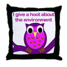 Environmental hoot Throw Pillow
