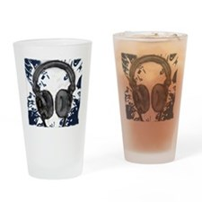 headphones abstract Drinking Glass