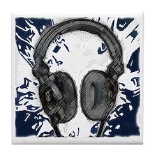headphones abstract Tile Coaster