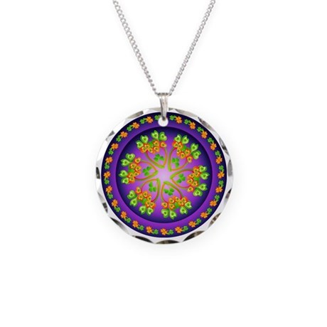 SPRING FLOWER. Necklace Circle Charm