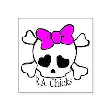 "RA Chicks Cute Skull Square Sticker 3"" x 3"""