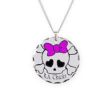 RA Chicks Cute Skull Necklace Circle Charm