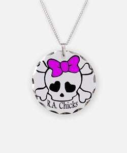 RA Chicks Cute Skull Necklace Circle Charm